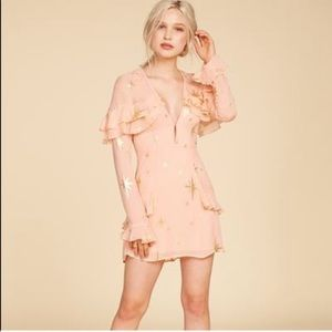 FOR LOVE AND LEMONS GILDED STAR MINI DRESS IN PINK
